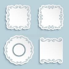 set of cutout paper frames with flourish ornament stock vector