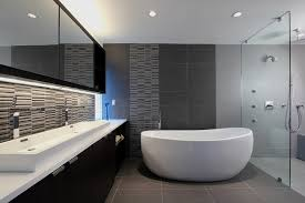 gray modern bathroom with a freestanding tub 4025 gallery photo
