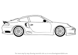 learn how to draw a porsche car side view sports cars step by