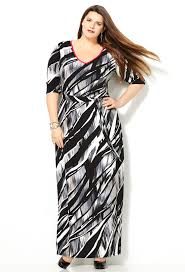 abstract black and white plus size maxi dress from avenue plus