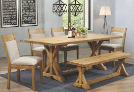 douglas vintage white oak rectangular dining room set from coaster