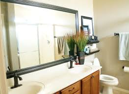Cheap Bathroom Mirror by Chic Neutral Bathroom Feats Beige Wall Also Wooden Vanity And