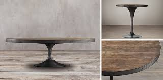 restoration hardware marble table russian oak round plank occasional table collection brown
