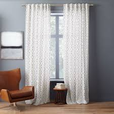 Slate Gray Curtains Cotton Canvas Stripe Curtain White Slate West Elm