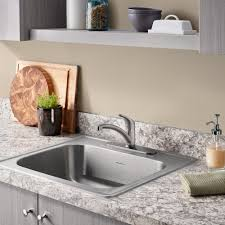 colony 25x22 single bowl kitchen sink kit with faucet and drain