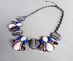blue bib necklace images Rhinestone statement necklace colorful bib necklace pink blue jpeg