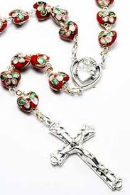 sacred heart rosary roscl00049 heart cloisonne sacred heart rosary iconeum llc