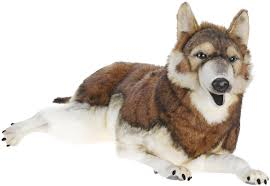 life size laying timber wolf stuffed animal