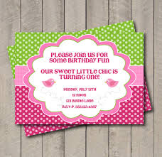 birdie birthday party invitation pink u0026 green bird invite