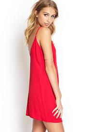 forever 21 double v slip dress in red lyst