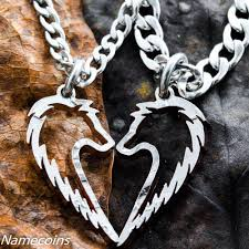tribal wolf necklaces couples jewelry set namecoins
