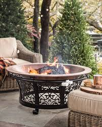 decorative cast iron steel fire pit with copper bowl