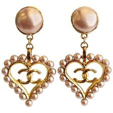 heart ear rings images Chic 1990s chanel pearl heart drop earrings at 1stdibs jpg