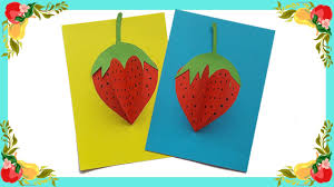 how to make 3d paper strawberry so cute for kids craft for