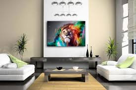Animal Print Furniture Home Decor by Amazon Com Colorful Lion Artistic Wall Art Painting The Picture