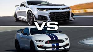 2018 chevrolet camaro zl1 vs 2017 ford mustang shelby gt350r youtube
