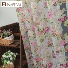 Country Style Window Curtains Floral Design Washable Tulle Curtain Fabrics Beautiful Sheer Panel