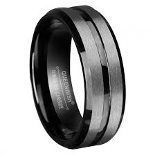 Mens Tungsten Wedding Rings by Queenwish 8mm Mens Tungsten Wedding Bands Black Silvering Brushed