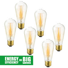 edison bulb 6 pack st64 squirrel cage filament dimmable