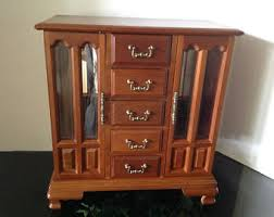 Armoire With Glass Doors Vintage Jewelry Armoire Etsy