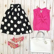 black polka dot flare skirt pink bow blouse kate spade polka dot