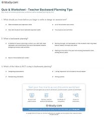quiz u0026 worksheet teacher backward planning tips study com
