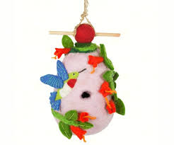 felted hummingbird and flowers roosting house the bird store and