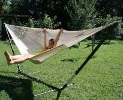 Hammock And Stand Set Cuba Gigante Stand With Mexican Net Hammock Mammut White 3 Persons