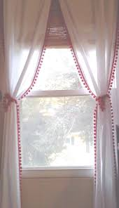 White Curtains With Pom Poms Decorating Room Curtains Trends Ward Log Ideas Also Bedroom Curtain