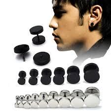 man ear rings images 1pair unisex mens women barbell punk gothic stainless steel ear jpg