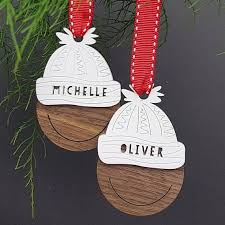 personalized bobble hat tree ornaments family
