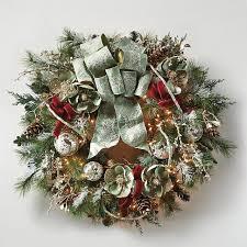 Pre Lit Decorated Christmas Wreaths silver u0026 green pre lit decorated christmas wreath frontgate