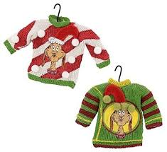 dept 56 grinch stole max sweater ornaments set of 2