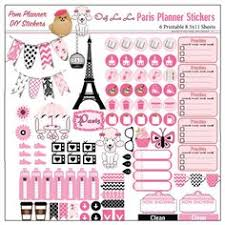 coffee planner stickers printable mega paris printable planner kit in pink black poodles macaroons