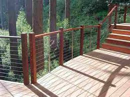 cable deck railing systems for safety and unobtrusive viewing