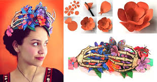day of the dead headband day of the dead paper flower crown skeleton party costume idea