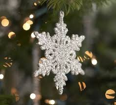 snowflake ornaments german glitter snowflake ornaments set of 6 pottery barn