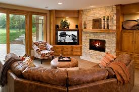 home design leather sofa with ottoman and stone fireplace plus