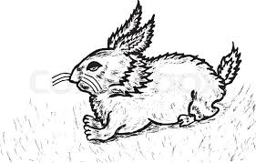 grunge sketch of a cute rabbit hand drawn illustration stock
