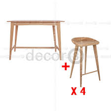 oak wood bar stools decor8 combo set plato solid oak wood bar table and oxford solid