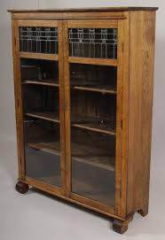 oak bookcases with glass doors igavel auctions larkin u0026 co mission style oak bookcase stained