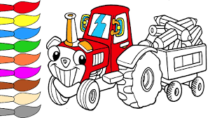 tractor and pencil coloring page for kids coloring book