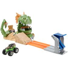 monster truck race track toys wheels monster jam dragon blast challenge play set walmart com