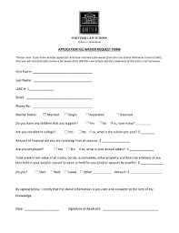 fillable online law whittier application fee waiver request form
