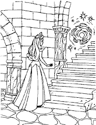 sleeping beauty spinning wheel coloring pages printable drawing