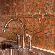 Fasade  In X  In Traditional  PVC Decorative Backsplash - Copper backsplash