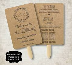 free printable wedding program fans vintage wedding program fan template rustic kraft classic wreath