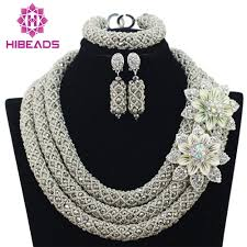 bridal necklace sets silver images Big full handmade braid beads african jewlery set silver nigerian jpg