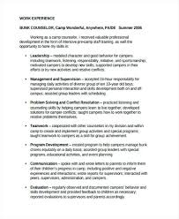 Teamwork Resume Statements Sample Camp Counselor Resume Best Counselor Resumes