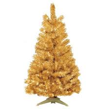 4 pre lit artificial tree gold tinsel clear lights